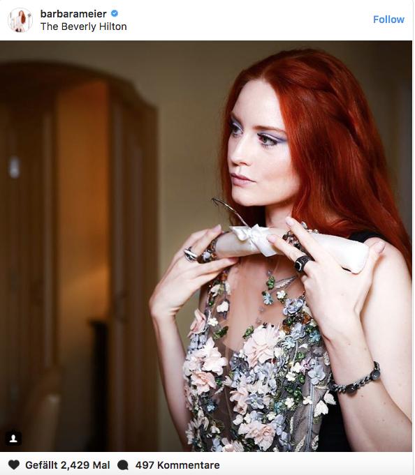 Model Barbara Meier trägt bei den Golden Globes kein schwarzes Kleid, um auf sexuellen Missbrauch aufmerksam zu machen.