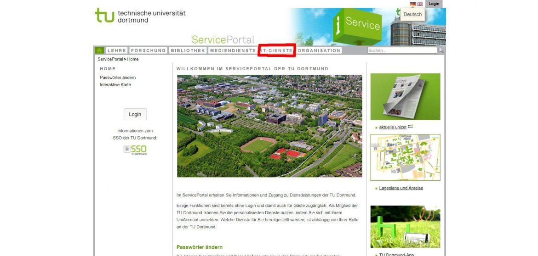 """Auf dem Screenshot ist das Serviceportal der TU Dortmund. Der Reiter """"IT-Dienste"""" ist rot markiert."""