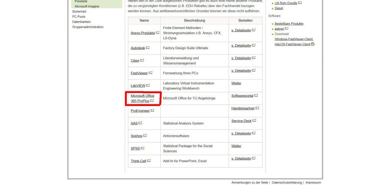 Auf dem Screenshot ein Angebot aus der Liste rot markiert: Microsoft Office 365 Pro Plus.
