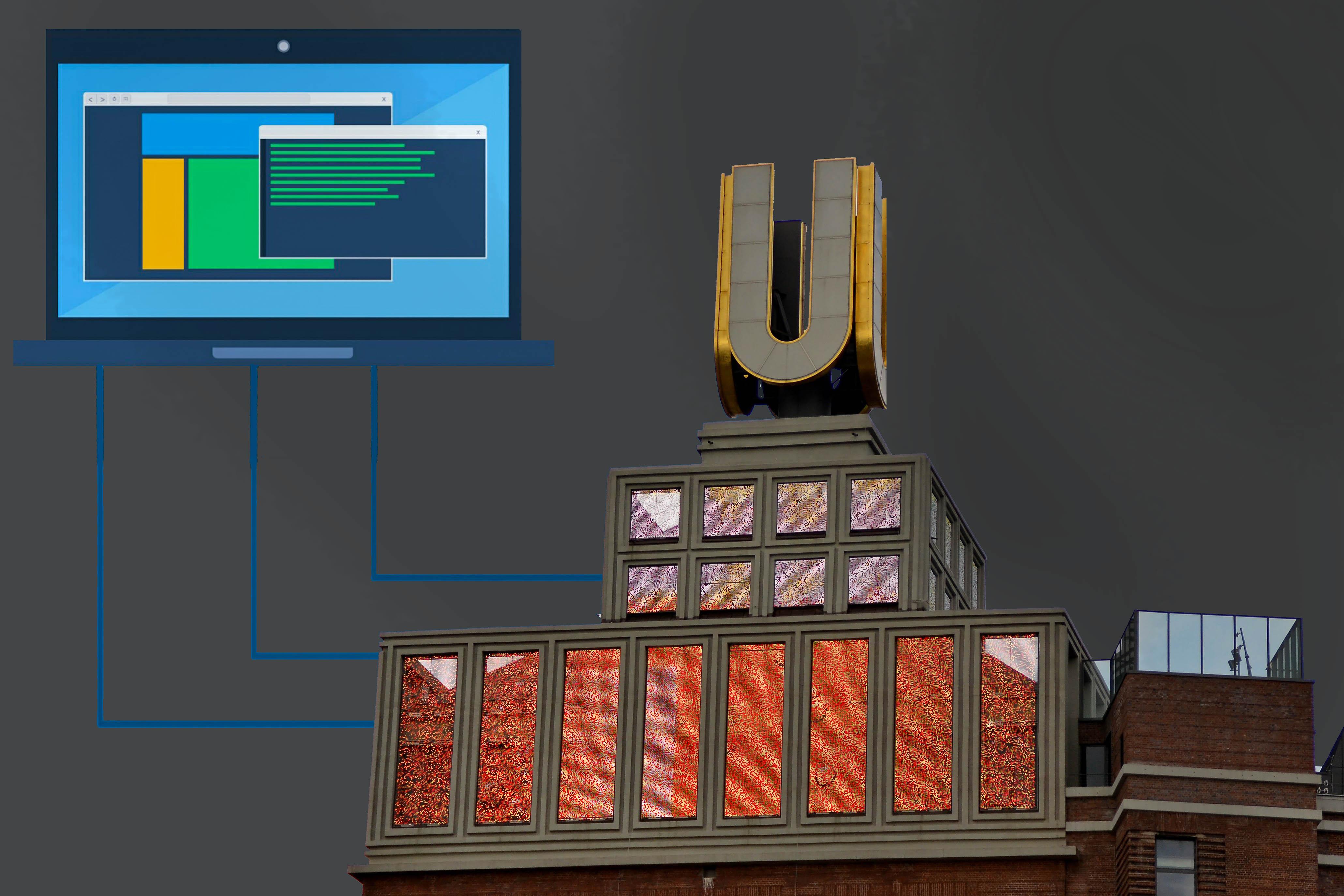 Auf der Bildmontage ist das Dortmunder U zu sehen, von dem aus Linien zu einem Computer führen. Der Hintergrund ist dunkel.