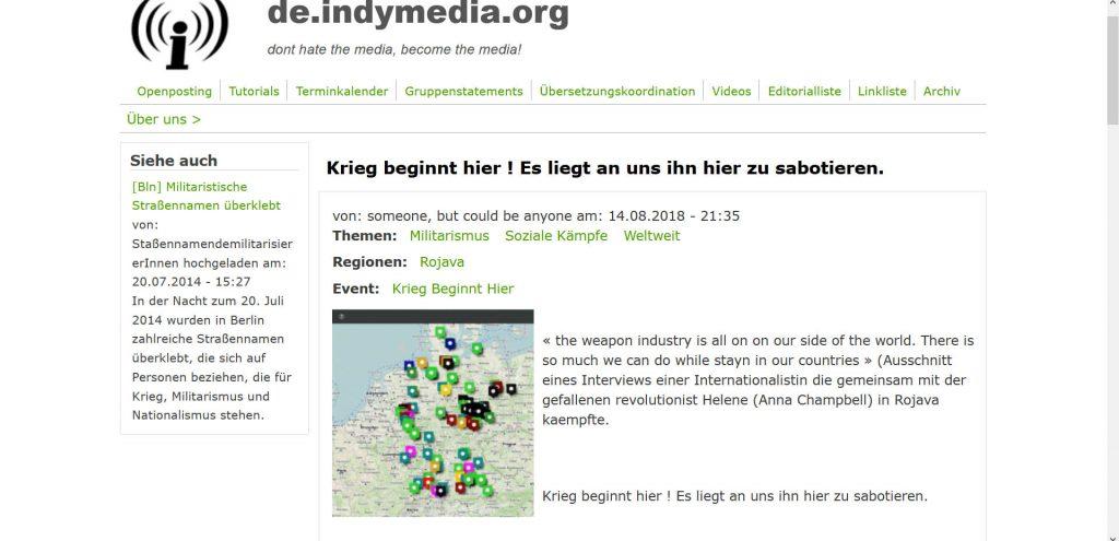 Auf dem Screenshot ist eine Internetseite: eine Art Forum. Aufgerufen ist der im Artikel thematisierte Beitrag mit einer Karte, auf der einige Flecken in ganz Deutschland markiert sind.
