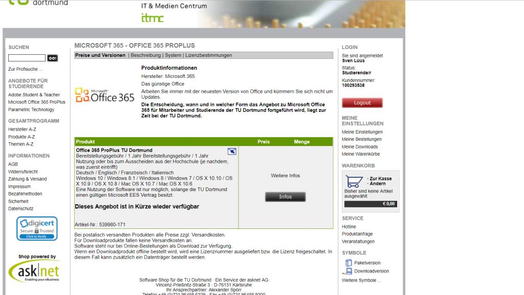 """Auf dem Screenshot ist das Angebot von Office 365 Pro Plus, aufgerufen auf der Internetseite von Asknet. Mitten im Bild prangt die Schrift """"Dieses Angebot ist in Kürze wieder verfügbar""""."""