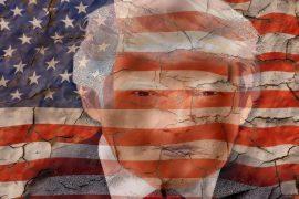 Donald Trump auf Flagge, die bröckelt
