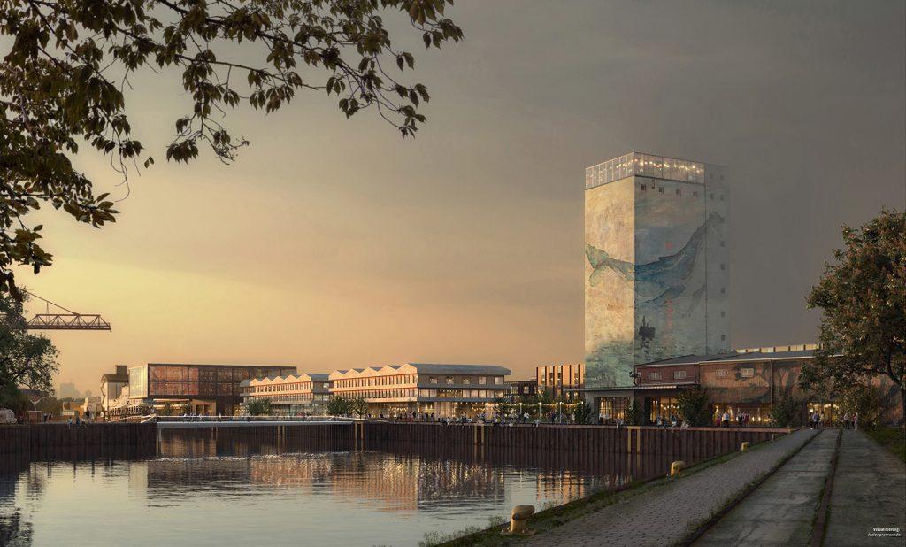 Planzeichnung des neuen Hafenquartiers / nördliche Speicherstraße