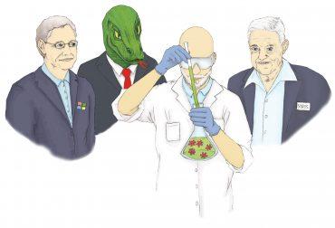 Illustration: Bill Gates, George Soros und ein Echsenmensch stehen hinter einem Wissenschaftler/Forscher