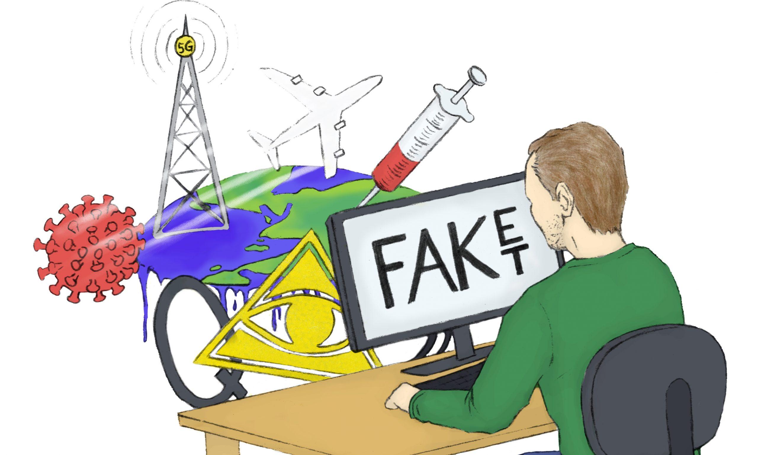 Illustration: Mann sitzt am PC im Hintergrund verschiedene Verschwörungsobjekte: Impfspritze, Chemtrails, 5G, Q-Anon Q, Illuminaten Auge, Flacherde