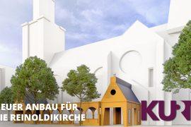 Vor der Reinoldikirche entsteht diese Woche ein 30 Meter langer Anbau. TU-Studierende haben den sogenannten Paradiesgarten entworfen und gebaut. Eröffnet wird der Anbau pünktlich zum Evangelischen Kirchentag.
